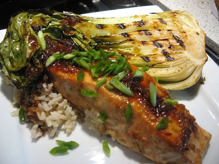 Grilled Salmon with Bok Choy over Brown Rice
