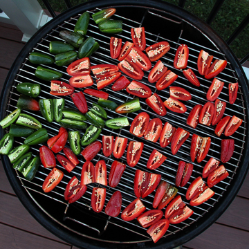 Capsicums on the grill