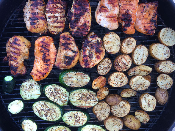 BBQ Zucchini, Potatoes, and Chicken