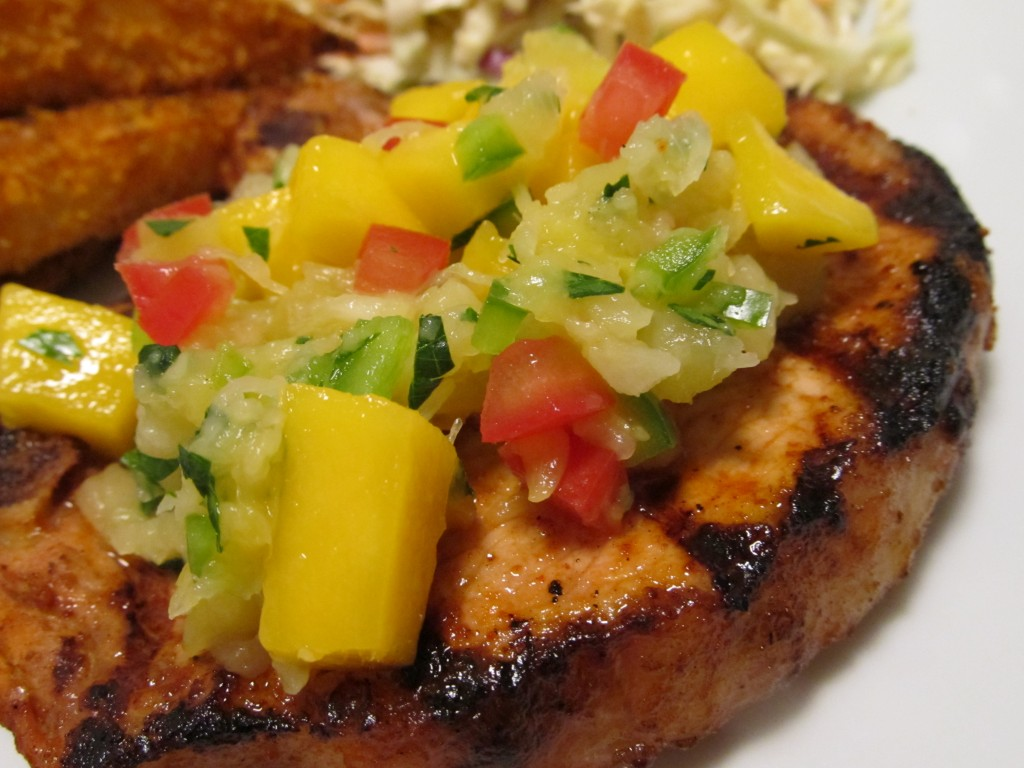 Spicy Grilled Pork Chops with Mango Pineapple Salsa